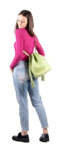 DECAGON MINI Green Bucket bag with fringes