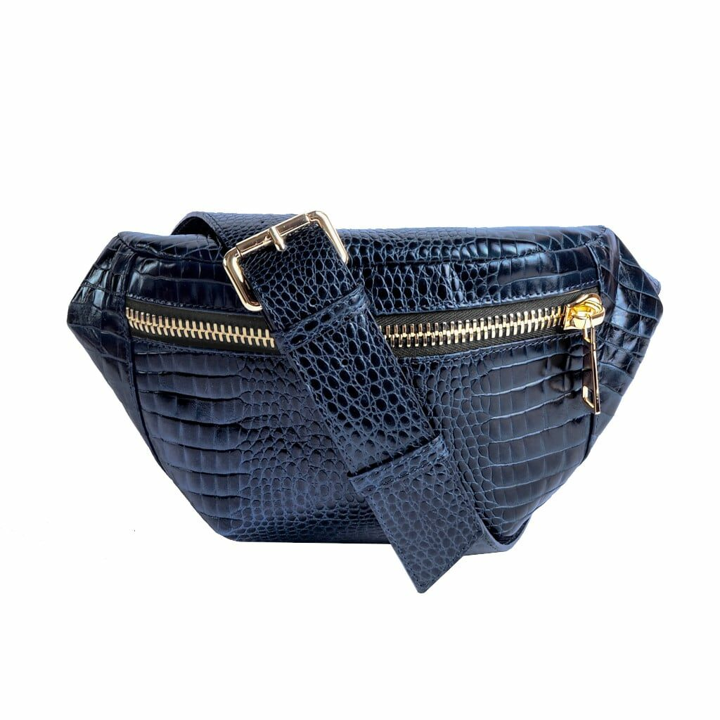 Kroko Gold Navy Belt Bag Fanny pack by MOLTO