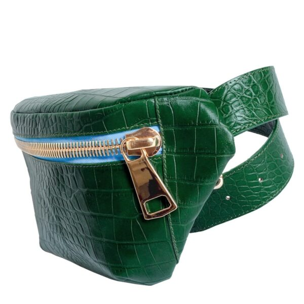 Kroko Turquoise Green Belt Bag Fanny Pack by MOLTO