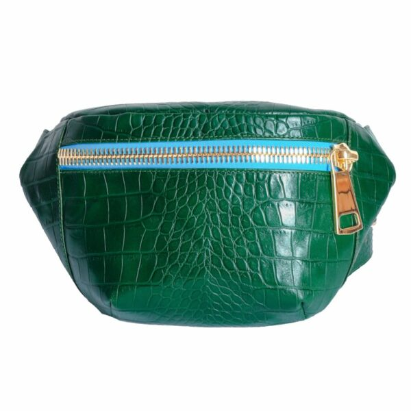 Kroko Turquoise Green Belt Bag by MOLTO