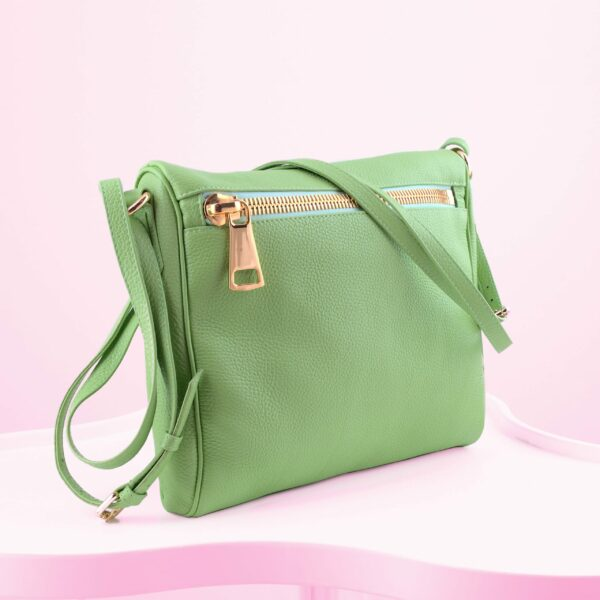 DYAD Green Messenger Bag with gold zipper by MOLTO