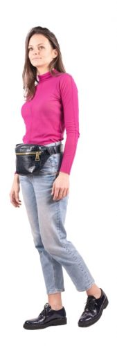 Kroko Gold Navy Belt Bag by MOLTO on model